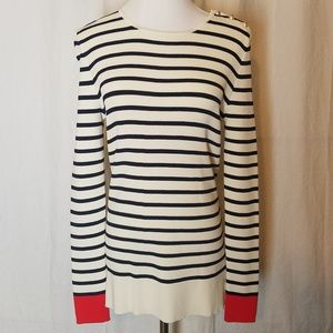 Navy Cream pullover sweater lightweight red cuffs